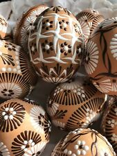 "Czech traditional Easter Egg ""Kraslice"" (Europe)-Chicken Egg-Beige/Brown Wax"