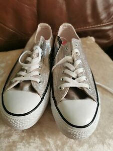 Converse size 5 Silver Pink
