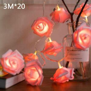 Rose Flower 20 LED Garland String Light Fairy Wedding Party Valentine's Day
