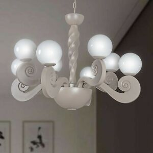 Chandelier Contemporary 4+4 Lights Spheres Glass Blown Design Maes Botero