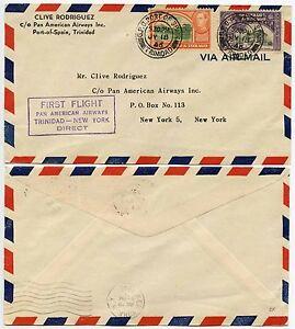 TRINIDAD + TOBAGO FIRST FLIGHT PAN AM NEW YORK DIRECT 1946 RODRIGUEZ ENVELOPE