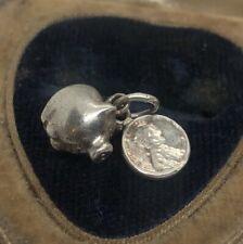 Vintage Sterling Silver Necklace 925 Pendant Charm Piggy Bank