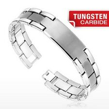 Quality Tungsten Carbide ID Bracelet Brushed Center -  Free Engraving