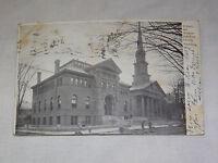 VINTAGE 1906 LIBRARY ART MUSEUM FITCHBURG MASS  POSTCARD