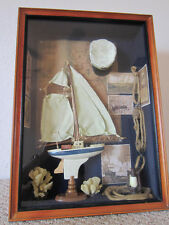 HAND CRAFTED, NAUTICAL, SHADOW BOX WITH SAILBOAT, ETC.