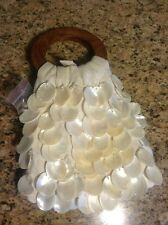 VTG Two's Company Capiz Shell Purse, Wood Handle, Excellent!