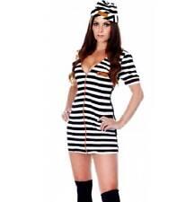 SEXY INMATE 69 PRISONER UNIFORM + HAT OUTFIT FANCY DRESS HEN COSTUME SIZE 8/10