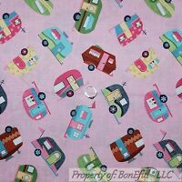 BonEful Fabric FQ Cotton Quilt Pink Girl RV Travel Trailer Camp Cabin Park Toile