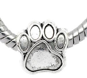 100 älter Silber European Hundpfote Perlen Beads 11x11mm