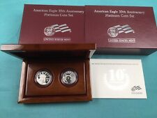 2007 Platinum American Eagle 10th Anniversary 2 Coin Set Proof & Reverse in box