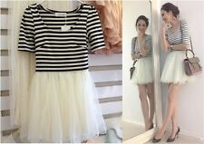 SNIDEL-Quality Japanese korean fashion cream black stripe lace dress so pretty