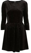 Topshop Black Velvet Silver Glitter Spot Polka Dot Vtg Skater Party Dress 8 4 36