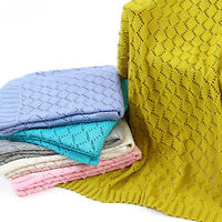 AU_ AB_ Solid Color Baby Hollow Knitted Crochet Blanket Quilt Swaddle Wrap Eager