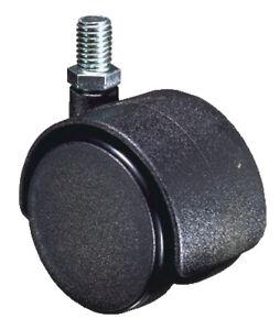 Castor Twin Wheel Office Chair Black M8 Thread 40mm Ø Packs of 2/3/4/5 C163