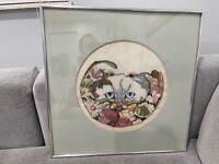 1981 Signed JoAnn Jo Ann Carpenter Framed Embroidery Textile Art Cat in Flowers