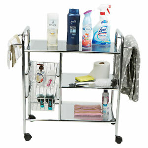 Mind Reader 3-Tier All Purpose Utility Cart with 2 Shelves and Baskets Silver