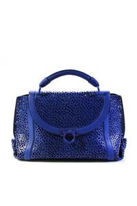 Salvatore Ferragamo Womens Lasercut Sofia Handle Turn Lock Handbag Blue
