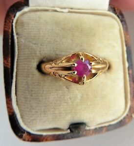 Antique Edwardian Ruby Solitaire 18ct Ring - Chester 1911