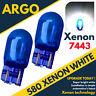 2x W21 5w T20 580 Car Dual Filament Sidelight 7443 Super White Xenon Bulbs 6000k