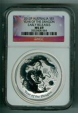 AUSTRALIA 2012 $1 YEAR OF THE DRAGON 1 OZ. SILVER NGC MS-69 GEM BU EARLY RELEASE