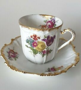 Antique LIMOGES Cabinet Cup and Saucer L & E Coiffe 1891 - 1920