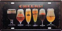 PLAQUE métal vintage CHEERS verres à bière