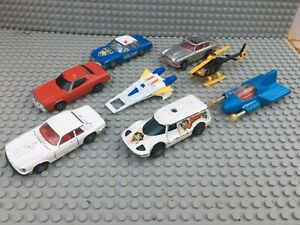 Vintage Corgi Juniors tv Vehicles x8 SAINT 007 BUCK ROGERS JOKER SUPERMAN ETC