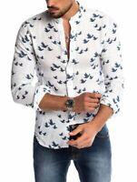Men's Long Sleeve Button Linen Dress Shirt Floral Casual Shirts Blouse Tee Tops
