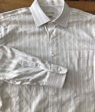 John W Nordstrom Yellow Diamond Stripe Dress Shirt Men's 16 1/2 35 Spread Collar