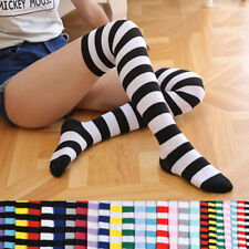 Girl Women Cotton Sock Long Thigh High Striped Over the Knee Slim Leg Stockings