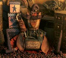 Pattern Primitive Owl Witch Doll w/ Black Cat Ornie & Pumpkin Wand Uncut