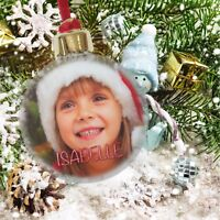 Large Personalised Christmas Xmas Photo Bauble Decoration Ornament Gift