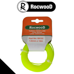 Nylon Line Strimmer Cord 1.6mm x 15M Metres Silent RocwooD Twisted