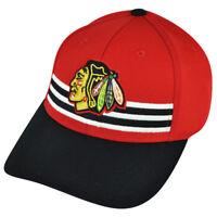 NHL American Needle Chicago Blackhawks Flex Fit Stripes Red Large Hat Cap Stretc