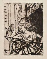 Hans Meid - Frau am Fenster - Radierung - 1909