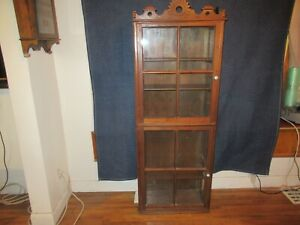 Old Square Nailed Walnut Eastlake Glass China Curio Bookcase Display Cabinet