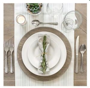 Gray Faux Wood Plastic Charger Plates - 13 Inch (Set Of 6)