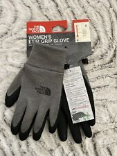 THE NORT  FACE Womens ETIP GRIP GLOVE S SMALL Grey Black Silicone grip palm