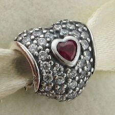 FUCHSIA HEART IN HEART .925 Sterling Silver European Charm Bead HR12