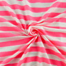 Hot Pink/White Striped Jersey Knit, Fabric By The Yard