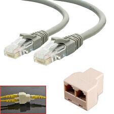 2Pcs 10m RJ45 Cat5e Ethernet Network Patch Cable + 1x 3 Port Y Splitter Coupler