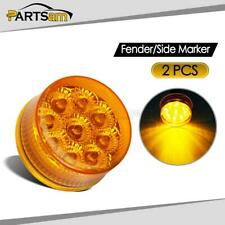 "2X LED Truck RV Trailer Bus 2"" Round Clearance Side Marker Light Amber"