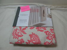 "New  Threshold Quality & Design Shower Curtain 72""X72"" CORAL/TAN FLORAL NIP"