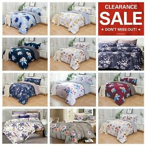 Clearance Floral Duvet Quilt Cover Bedding Set Pillowcase Fitted Sheet 4pcs Size