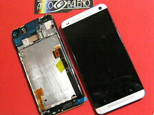 GLS: DISPLAY LCD+ TOUCH SCREEN+ FRAME COVER per HTC ONE M7 VETRO SILVER GRIGIO