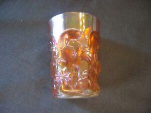 carnival glass tumbler Cut Cosmos very pretty
