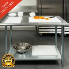 "30"" x 48"" Stainless Steel Work Prep Table with Undershelf Kitchen 2 Inch Upturn"
