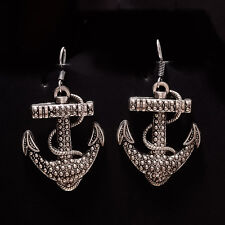 Vintage Old Retro Anchor Earring Silver Tone Fashion Women Jewelry New Year Gift