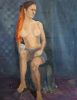 1973 RUSSIAN NUDE WOMAN PORTRAIT OIL PAINTING SIGNED