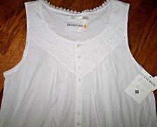 """NWT Eileen West White Stinson Bloom Chemise Jersey KNIT 36"""" Nightgown Gown XL"""